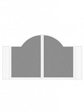 cancello 2 ante con telaio composto da nr. 2 pannelli. tipologia curvatura come art. am1030