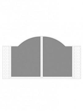 cancello 2 ante con telaio composto da nr. 2 pannelli. tipologia curvatura come art. am1040