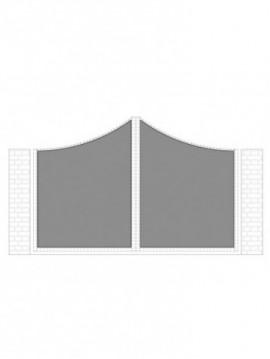 cancello 2 ante con telaio composto da nr. 2 pannelli. tipologia curvatura come art. am1170