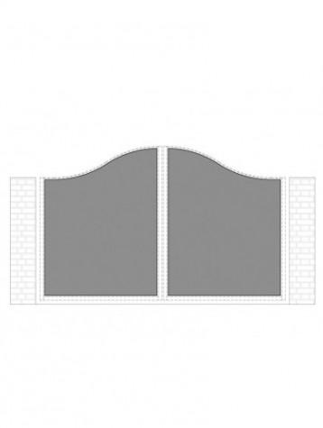 cancello 2 ante con telaio composto da nr. 2 pannelli. tipologia curvatura come art. am1200