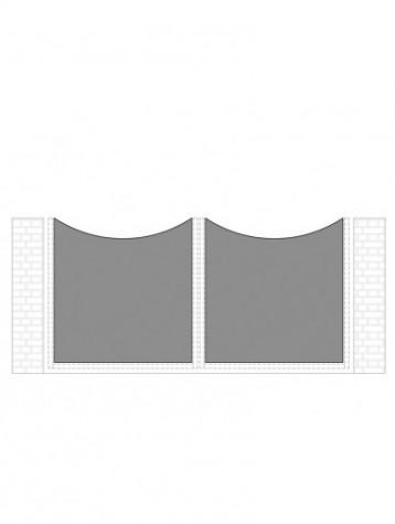 cancello 2 ante con telaio composto da nr. 2 pannelli. tipologia curvatura come art. am1060