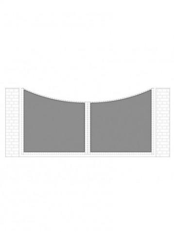 cancello 2 ante con telaio composto da nr. 2 pannelli. tipologia curvatura come art. am1110