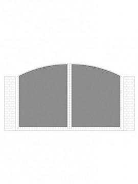 cancello 2 ante con telaio composto da nr. 2 pannelli. tipologia curvatura come art. am1350